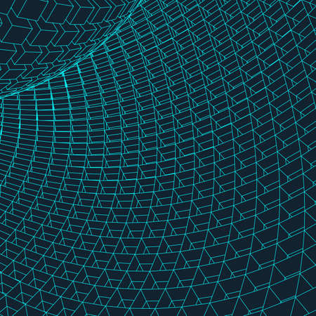 Abstract 3d Illuminated distorted Mesh Sphere . Neon Sign . Futuristic Technology HUD Element . Elegant Destroyed . Big data .