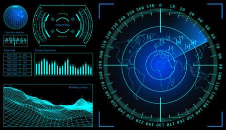 Illustration pour Military green radar. Screen with target. Futuristic HUD interface. Stock vector illustration. - image libre de droit