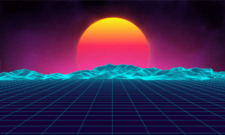 Photo pour Retro background futuristic landscape 1980s style. Digital retro landscape cyber surface. Retro music album cover template : sun, space, mountains . 80s Retro Sci-Fi Background Summer Landscape. - image libre de droit