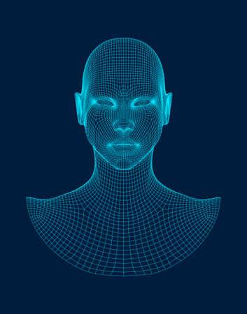 Ilustración de 3d head wireframe vector. Drawing of wireframe head 3d model. - Imagen libre de derechos