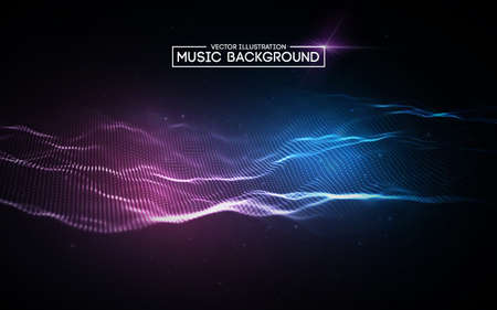 Illustration pour Music abstract background blue. Equalizer for music, showing sound waves with music waves. - image libre de droit