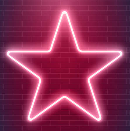 Illustration pour Bright disco design. Vector neon star. Glowing illuminated illustration. - image libre de droit