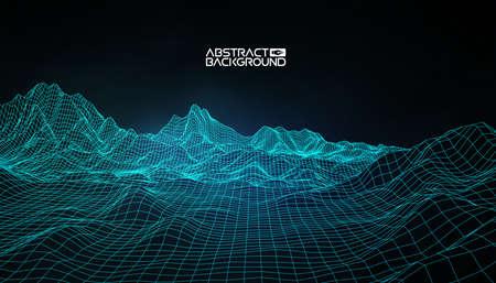 Illustration pour Abstract vector wireframe landscape background. Cyberspace grid. 3d technology wireframe vector illustration. Digital wireframe landscape. - image libre de droit