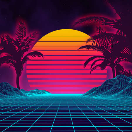Illustration pour Retro background futuristic landscape with palm tree silhouette 1980s style. Digital retro palms landscape cyber surface. Retro music album cover template sun, space, mountains . 80s Retro Sci-Fi Background Summer Landscape. - image libre de droit