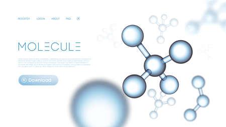 Illustration pour Molecular particles background compounding template. Gene abstract network. Molecule science dna presentation. Chemical background. - image libre de droit