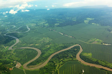 Meandering river from the air