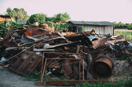 Photo for a pile of rusty scrap metal. garbage - Royalty Free Image