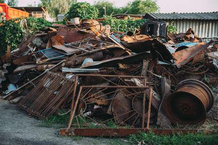 Photo pour a pile of rusty scrap metal. garbage - image libre de droit
