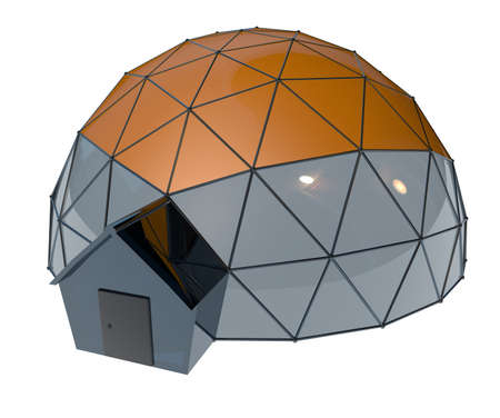 Geodesic dome on white background