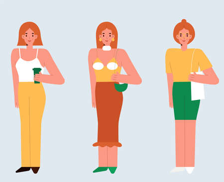 Illustration for A red-haired young women standing. Set of three beautiful girls in outfits. Simple flat vector illustration. - Royalty Free Image