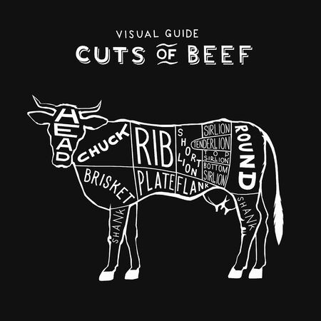 vector cuts of beef cow logo white on black monogram vintage