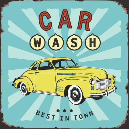 Illustration for car wash vintage board old metal sing - Royalty Free Image