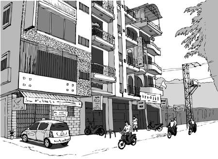 Illustration for small shopping street in Vietnam, people on scooters, gray color scheme - Royalty Free Image