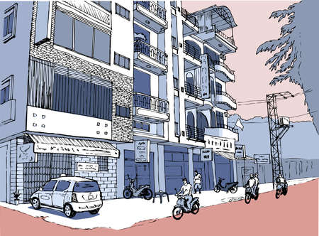 Illustration pour Nha Trang, small shopping street in Vietnam, people on scooters, pink color scheme - image libre de droit