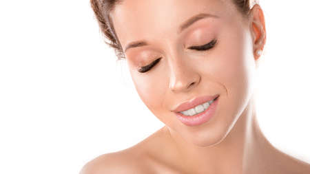 Photo for Close up of pretty woman showing her glowing soft skin - Royalty Free Image