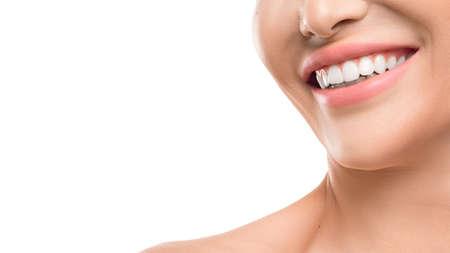 Photo pour Closse up view of a female smile. Dental concept - image libre de droit