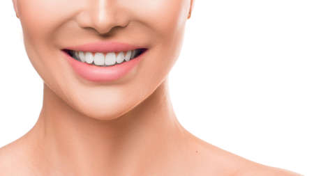Photo pour Close up photo of a woman smiling. Teeth whitening and dental health. - image libre de droit