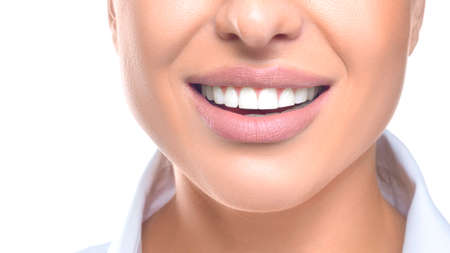 Photo pour Close up photo of a woman smiling. Teeth whitening and health concept - image libre de droit