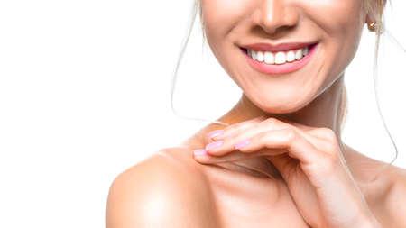 Photo pour Dental health concept: woman smiling close up. Isolated on white. - image libre de droit