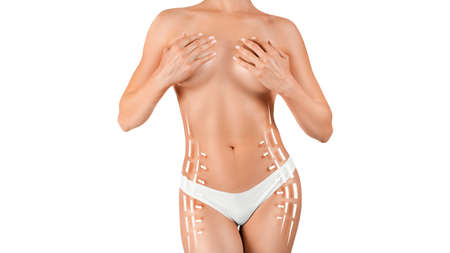 Photo for Female body with lines and arrows over white background. Slimming concept. - Royalty Free Image