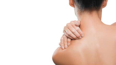 Photo pour Health care and medical concept: pain in a neck. Woman neck pain close up. - image libre de droit