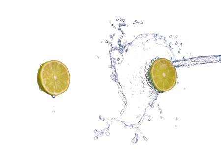 Photo for lime in spray of water. lime cucumber with splash on background - Royalty Free Image