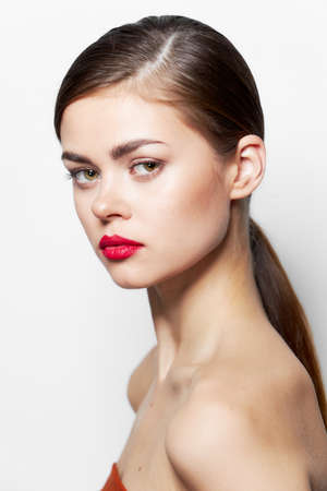 Photo for Attractive woman Nude shoulders red lips luxury body care - Royalty Free Image
