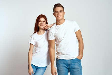 Photo pour family couple in love jeans white t-shirt emotions fun man and woman having fun - image libre de droit