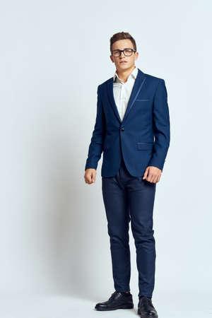 Foto de business man in suit wearing glasses self-confidence manager executive light background - Imagen libre de derechos