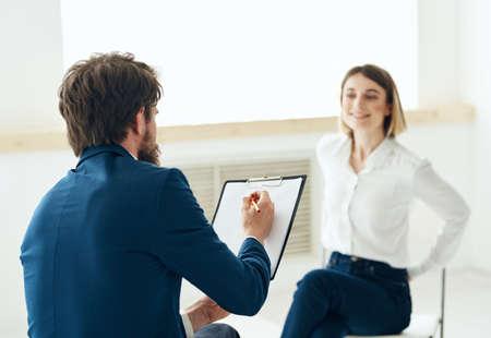 Photo pour Woman at the reception of a psychologist consultation communication depression - image libre de droit
