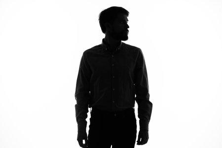 Photo pour black silhouette of a man on a white background cropped view model - image libre de droit