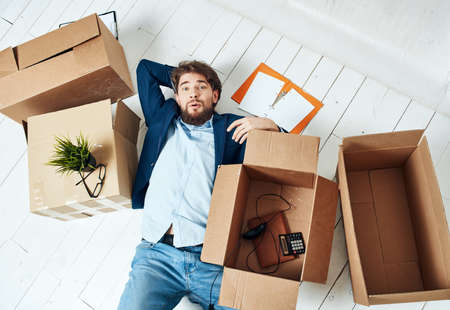 Photo for Business man with boxes office moving office official - Royalty Free Image