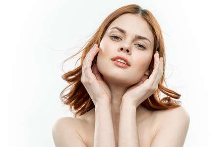 Photo pour pretty woman attractive look smile luxury naked shoulders light background - image libre de droit