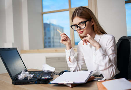 Photo for Business woman secretary working desk laptop office professionals - Royalty Free Image