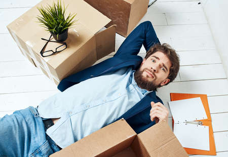 Photo for Business man box with things moving to new office work Professional - Royalty Free Image