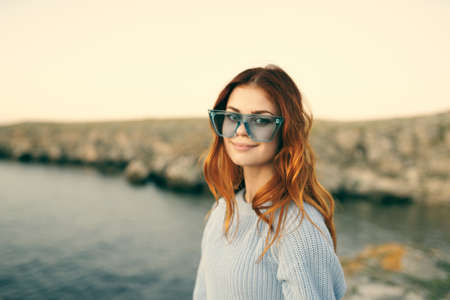 Photo for woman with glasses outdoors landscape island travel - Royalty Free Image
