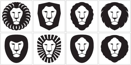 Lion is graphically stylized in illustration