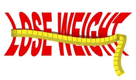 Text  Lose weight  with tape measure, isolated over white