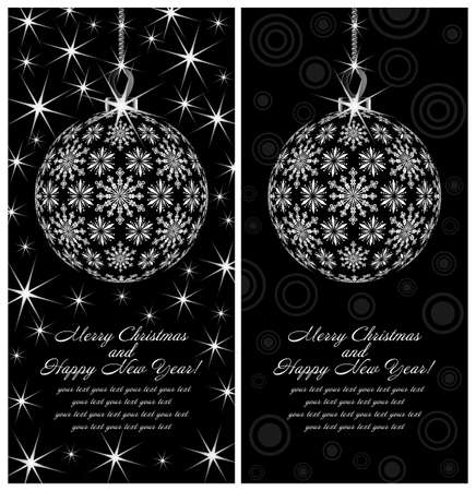 Template holiday postcards depicting New Year
