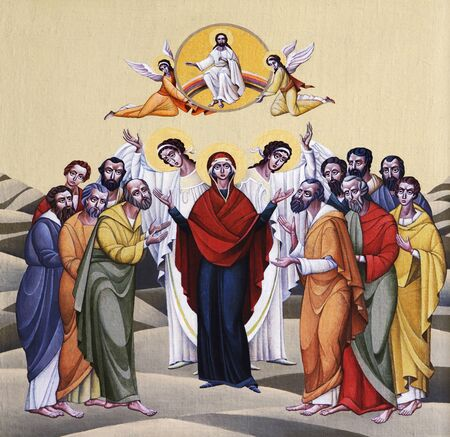 LVIV, UKRAINE - JUNE 06, 2012: The internal painting of the church of St. Anne, dedicated to church holidays. This image - an illustration of the Feast of the Ascension. The author - Ivan Protsiv.