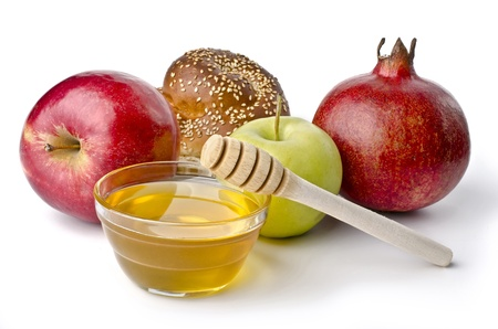 Round challah, apples and a bowl of honey over white. Illustration of Rosh Hashanah (jewish new year) or Savior of the Apple Feast Dayの写真素材
