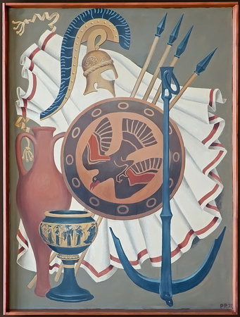 KERCH, CRIMEA, RUSSIA - JUNE 07: Retro painting which depicts objects and weapons of ancient Greece on June 07, 2015 in Kerch, Crimea, Russia. Author unknown