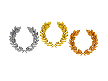 Laurel wreaths (gold, silver, bronze) in 3D isolated on a white background
