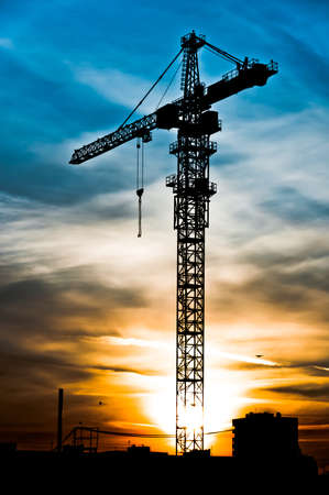 Photo for Crane silhouette at the sunset time, high dynamic range style - Royalty Free Image