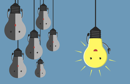 Inspired glowing light bulb character in moment of insight hanging beside many gray dull ones. Innovation, motivation, insight, inspiration concept.