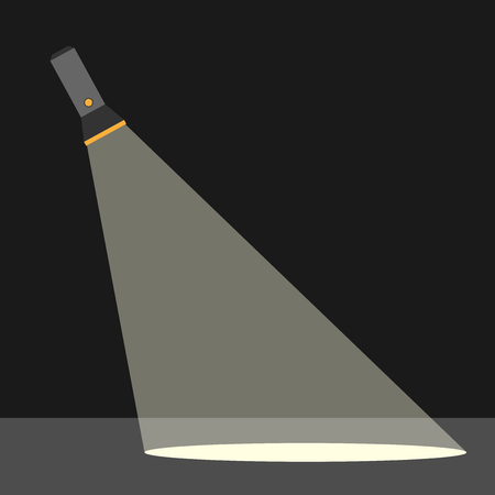 Flashlight or pocket torch in darkness illuminating ground. Search, investigation and criminality concept. Flat style. EPS 10 vector illustration, transparency used