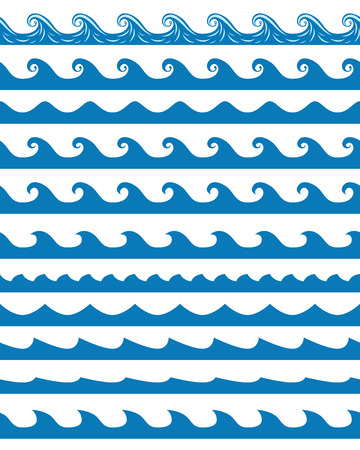 Set of 13 blue seamless waves patterns isolated on white. vector illustration, no transparencyのイラスト素材