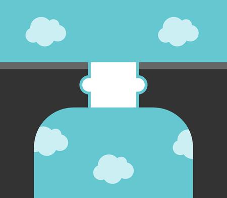 White puzzle piece bridge across large gap high above clouds. Solution, partnership and communication concept. Flat design. Vector illustration, no transparency, no gradients