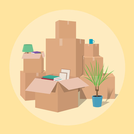 Moving with boxes. Boxes with things. Transport company. Open box