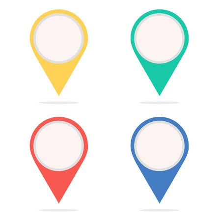 Illustration pour Set of round map pointers. Icon points. Point of location. Web sign. Navigation marker - image libre de droit